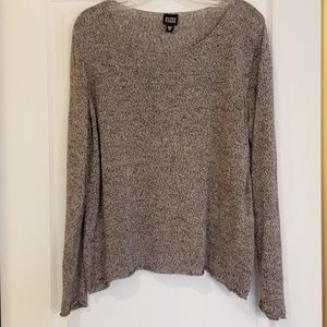 Eileen Fisher Taupe Linen Bateau Neck Sweater